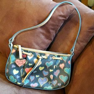 Dooney and Bourke coated canvas hearts leather